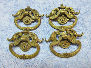 4 Brass Dresser Drawer Drop Ring Pulls Hands Decorative Ornate Elegant Deco