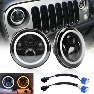 Pair 7 Round Led Headlights For Jeep Wrangler Unlimited Sport Jk Jl Tj Lj Cj