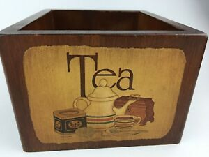 Vintage Wooden Tea Box 1978 Open No Lid F Chaney Caddy