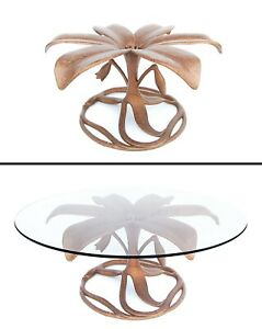 Arthur Court Faux Patinated Copper Cast Aluminum Lily Coffee Cocktail Table Base