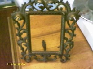 Vintage Heavy Cast Metal Ornate Picture Frame With Hinged Stand Fantastic
