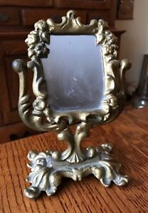 Antique Victorian Cast Iron Art Table Top Shaving Vanity Mirror Swivel Ornate