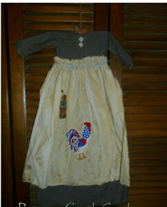 Primitive Wall Dress Blue Check Americana Rooster Patriotic July 4th Prim Grungy