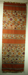 Antique Southeast Asian Textile Pha Chet Shorter Shawl 50x16 5 In Silk On Cotton