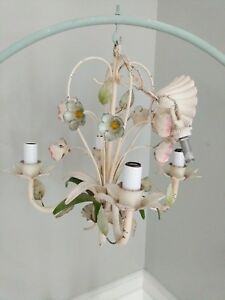 Chandelier Vintage Shabby Chic Italian Tole Birdcage Cottage Flowers Light