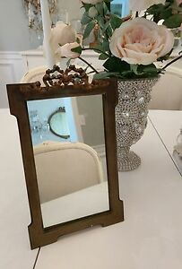 Antique French Bronze Mirror Bow Glass Easel Wall Mirror Frame Vtg Shabby
