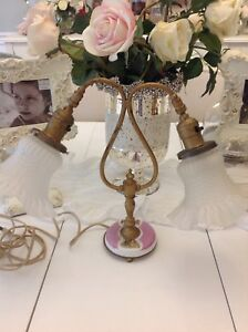 Antique French Boudoir Lamp Shades Vtg Light Victorian 22kt Gold Plated