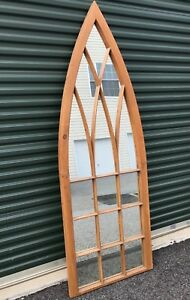 Tall Antique Arched Church Window Custom Fitted With Mirrors