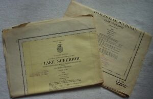 2 Vntg Large 1961 Lake Survey Nautical Charts 98 Lake Superior 981 Isle Royal