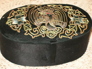 Antique Chinese Silver Pheasant Rank Badge Embroidery Silk Box