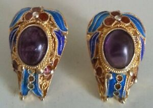Vintage Chinese Enameled Gp On Silver Amethyst Cabochon Jeweled Earrings