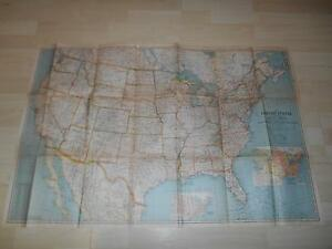 Old Vtg 1940 United States Canada Mexico Wall Map North America 40 X 27