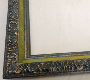 Vintage Victorian Gold Gilt Picture Frame With Black Top Coat Fits 14 X 18