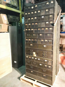 Vintage Colossal 1940 s American Industrial Multi Drawer Parts Cabinet 87 H