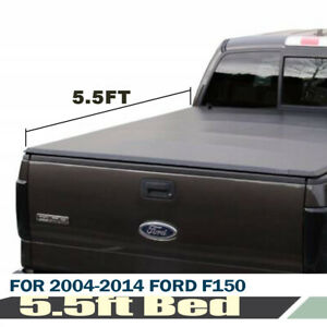 Fit 04 14 Ford F150 Tonneau Cover Soft Tri fold Truck 5 5ft 66in Black Trunk Bed
