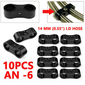 10pcs Set An6 6an 14mm Braided Hose Separator Clamp Fitting Adapter Bracket Kits