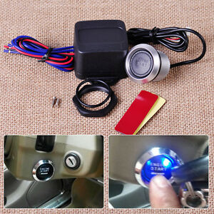 Blue Illumination Car Engine Start Push Button Switch Ignition Starter Touch Kit