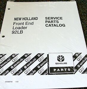 Ford New Holland Tractor Parts Catalog Front End Loader Model 92lb