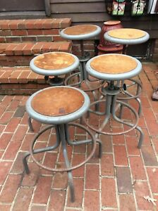 5 Vtg Industrial Metal Stools W Foot Rails Adjust 22 To 28 Very Good