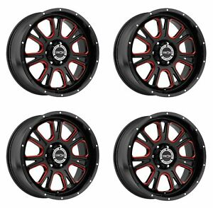 Set 4 17 Vision 399 Fury Black W Red Tint Wheels 17x8 5 6x5 5 25mm Truck Rims