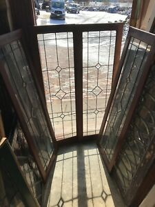 Sg 2921 Set Of 4matching Antique Cabinet Doors Leaded Beveled Glass 16 X 47 75