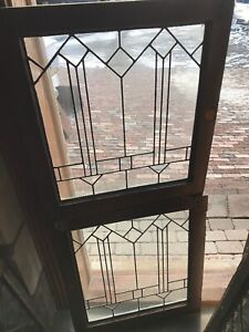 Sg 2920 To Match Pair Antique Leaded Glass 1920s Window 24 5 X 27h