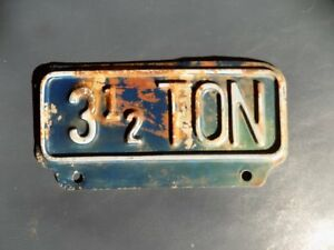 Vintage 3 1 2 Ton License Plate Topper Tag Accessory Truck