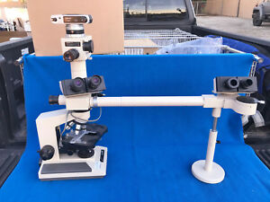 Olympus Microscope With Camera And Bridge 5 Objectives Model Bh 2