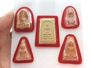 Top 5 Pra Somdej Red Plastic Frame Amulets Rare Real Antiques Success Talisman
