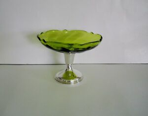 Vintage Sterling Silver Green Glass Candy Dish Made By Empire Silver Co
