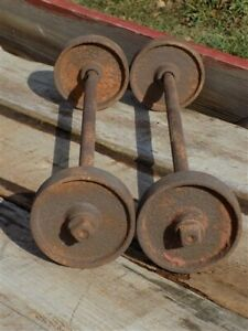 4 Factory Cart Wheels 2 Axles Cast Iron Vintage Lineberry Industrial Wheel A33