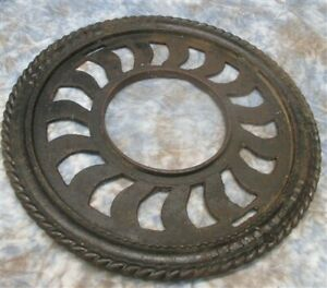 Cast Iron Round Stove Pipe Chimney Flue Cover Collar Ornate Grate Heat Ring A