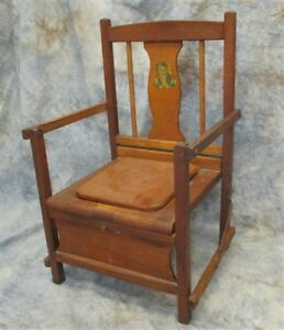 Wood Potty Chair Vintage Mid Century Toilet Training Commode High Chair Vintage