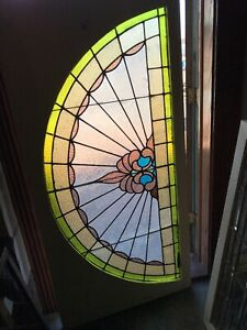 Sg 2934 Antique Stained And Textured Glass Arch Window 32 25 X 66 5