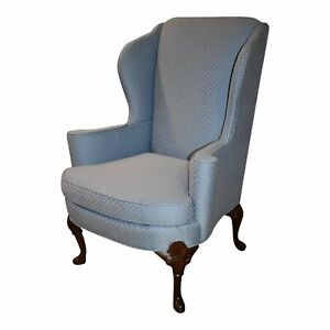 Vintage Huffman Koos Shaped Queen Anne Style Wing Chair