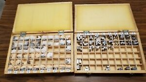 203pc Set Vtg Typeset Letters lower Case Numbers punctuation Marks In Wood Case