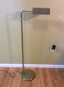 Vtg Mid Century Modern Laurel Brass Metal Floor Lamp Reading Light Adjustable