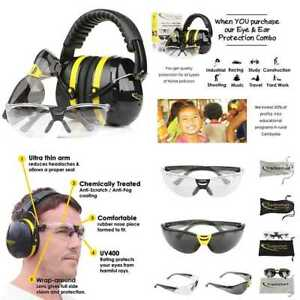 Tradesmart Shooting Earmuffs Anti Fog Scratch Resistant Safety Glasses Combo P