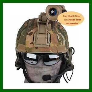 Tactical Military Airsoft Hunting Helmet Cover W Back Pouch For MICH 2001 Mult