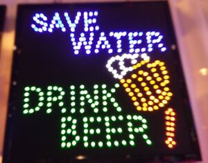 Save Water Drink Beer Neon Led Sign business Sign shop Sign bar Window Sign