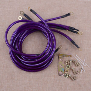 Vehicles Purple 5 Point Car Grounding Earth Wire Performance Cable System Kit