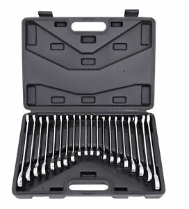 20pc Flat Ratcheting Wrench Combination Spanner Tool Set Sae Metric With Case