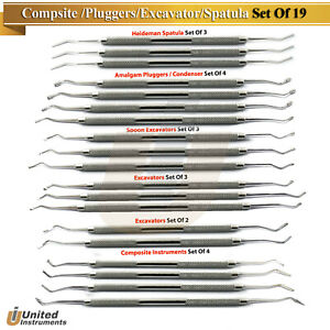 Dental Filling Instruments Spoon Excavator Restorative Composite Plugger Spatula