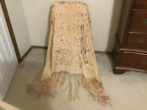 Antique Rare Beige Tan Silk Piano Shawl Scarf Embroidered Floral 52 X 52 16 F