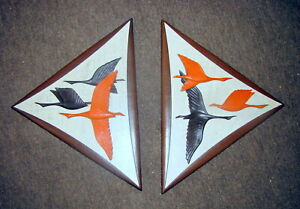 Orange Pair Vtg Mid Century Modern Atomic Burwood 3d Flying Geese Bird Plaque