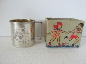 Vintage 1881 Rogers Silver Plate Baby Cup Birds Box