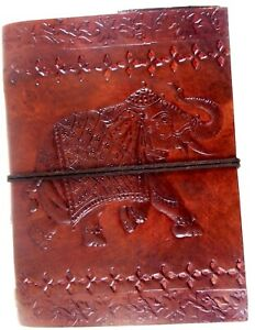 Notebook Blank Paper Diary Elephant Embossed Handmade Leather Journal Notepad D3