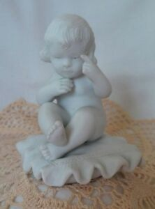 Antique French Sevres Style Bisque Parian Grouping Child On Pillow Figurine
