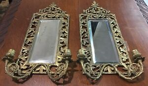 Candle Sconces With Mirrors Brass