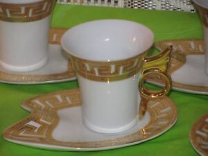 5 Nib Greek Key Design Gold Red Demitasse Cups Saucers Wing Handles Imperial